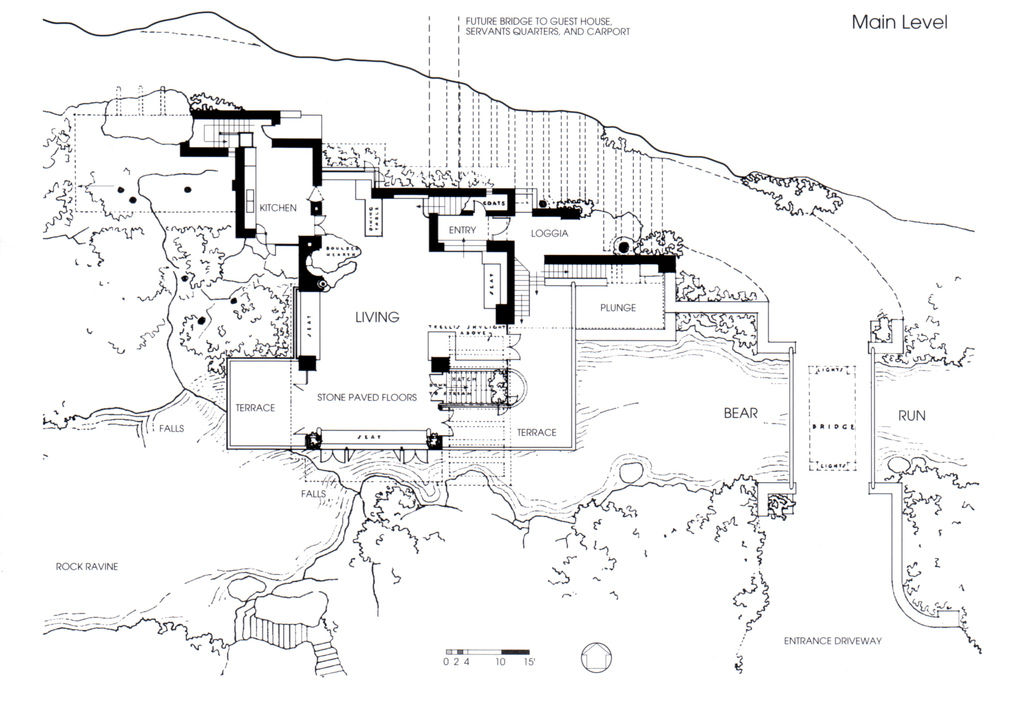 Fallingwater la casa sulla cascata di frank lloyd for Main level floor plans