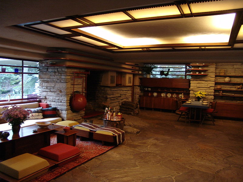Fallingwater interior design e architettura for Frank lloyd wright piani per la casa